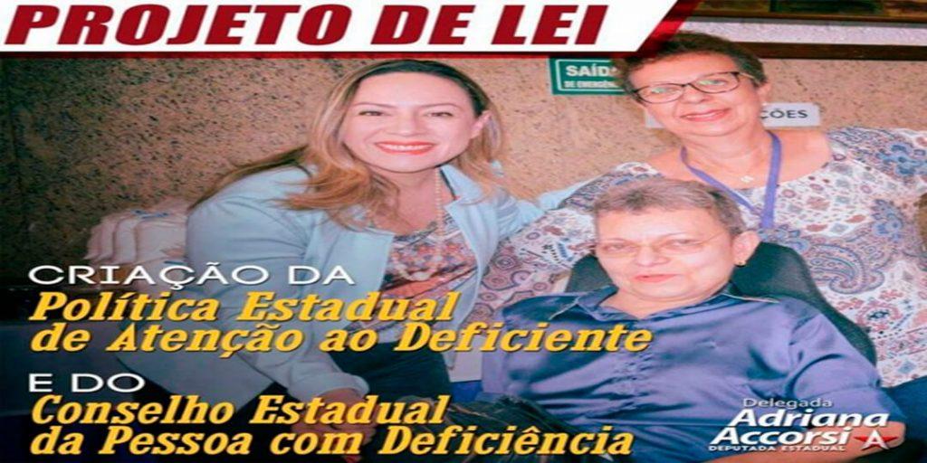 Foi aprovado o projeto de lei de autoria da deputada estadual Delegada Adriana Accorsi que cria a Política Estadual de Atenção ao Deficiente e o Conselho Estadual dos Direitos da Pessoa com Deficiência.