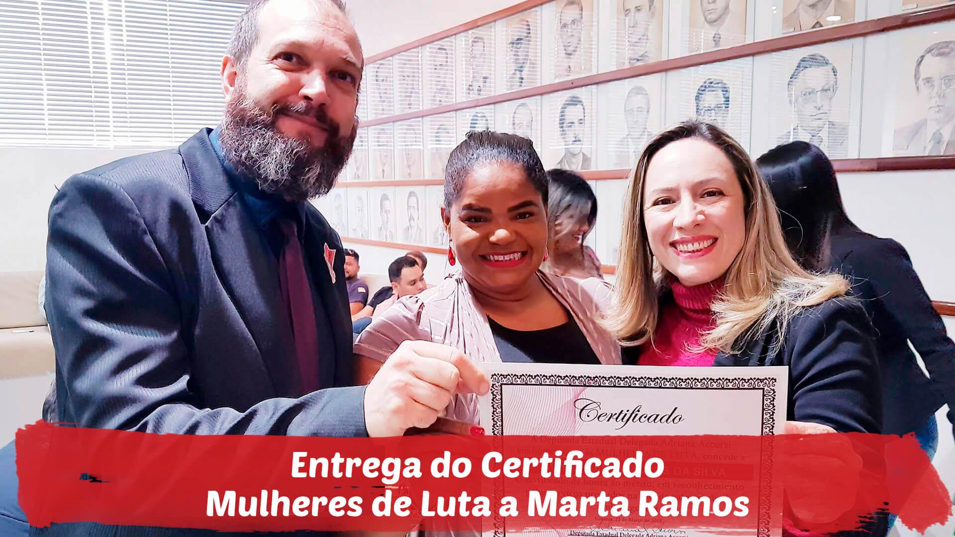 Visita de Marta Ramos e entrega do Certificado Mulheres de Luta