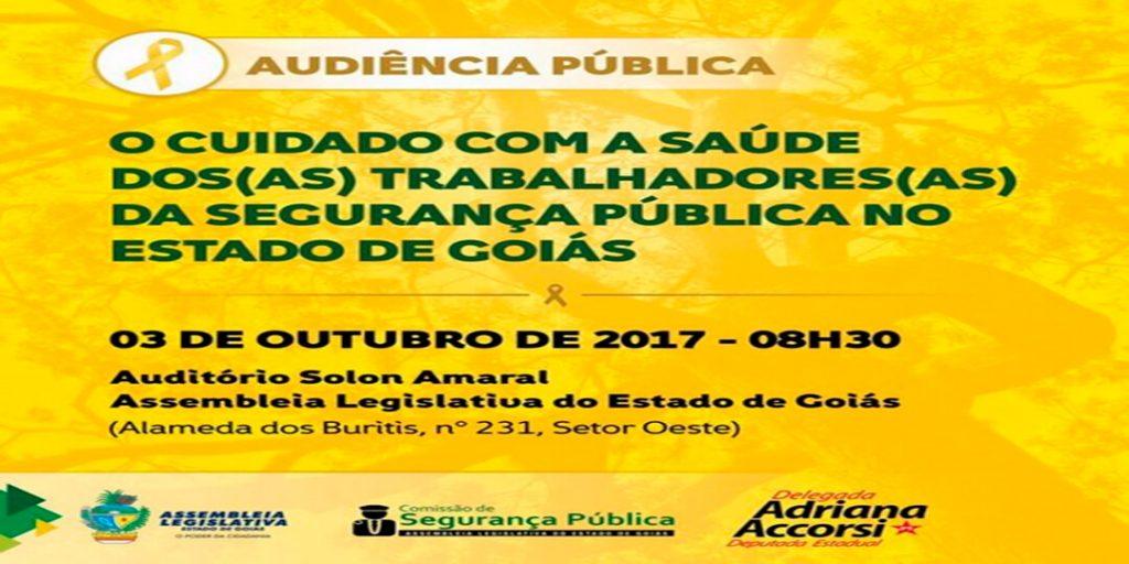 A deputada estadual Delegada Adriana Accorsi, realizará na próxima terça-feira (03/10), uma audiência pública para debater o cuidado com a saúde dos trabalhadores e das trabalhadoras da Segurança Pública no Estado de Goiás.
